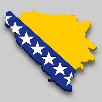 Mapa 3d isométrico da bósnia com a bandeira nacional.