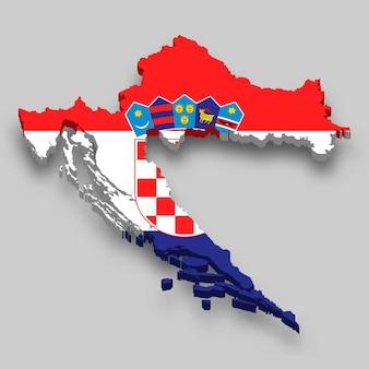 Mapa 3d isométrico da croácia com a bandeira nacional.
