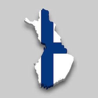 Mapa 3d isométrico da finlândia com a bandeira nacional.