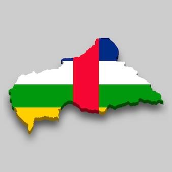 Mapa 3d isométrico da república centro-africana com a bandeira nacional.