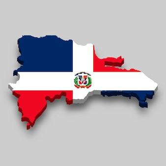 Mapa 3d isométrico da república dominicana com a bandeira nacional.