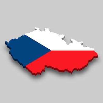 Mapa 3d isométrico da república tcheca com a bandeira nacional.