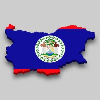 Mapa 3d isométrico de belize com a bandeira nacional.