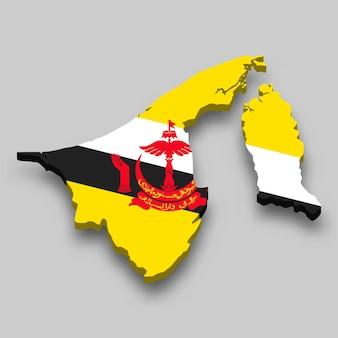 Mapa 3d isométrico de brunei com a bandeira nacional.