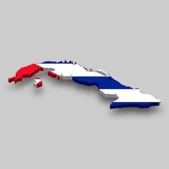 Mapa 3d isométrico de cuba com a bandeira nacional.