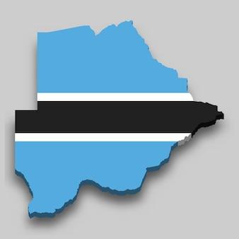 Mapa 3d isométrico do botswana com a bandeira nacional.