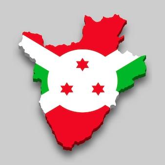 Mapa 3d isométrico do burundi com a bandeira nacional.