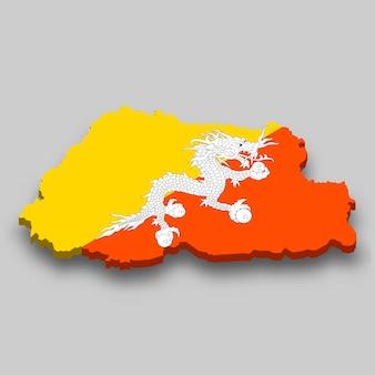 Mapa 3d isométrico do butão com a bandeira nacional.
