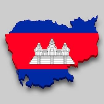 Mapa 3d isométrico do camboja com a bandeira nacional.