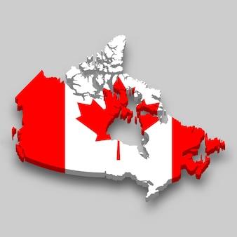 Mapa 3d isométrico do canadá com a bandeira nacional.
