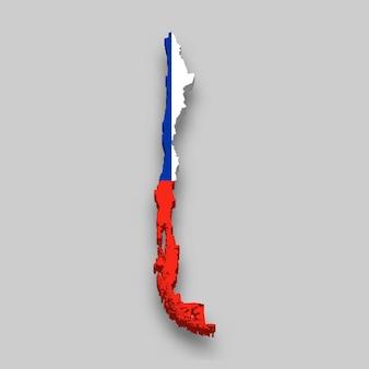 Mapa 3d isométrico do chile com a bandeira nacional.