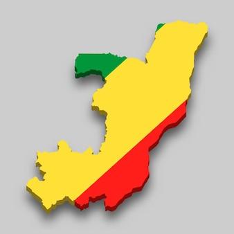 Mapa 3d isométrico do congo com a bandeira nacional.