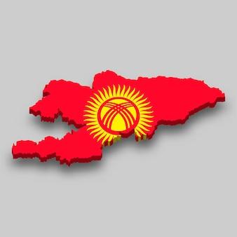 Mapa 3d isométrico do quirguistão com a bandeira nacional.