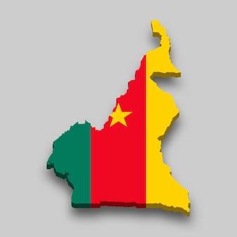 Mapa 3d isométrico dos camarões com a bandeira nacional.