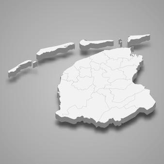 Mapa 3d província de holanda