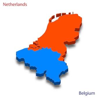 Mapa 3d relações com a holanda e a bélgica