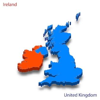 Mapa 3d, relações entre a irlanda e o reino unido