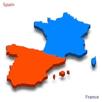 Mapa 3d relações entre espanha e frança