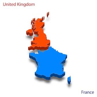Mapa 3d relações entre o reino unido e a frança