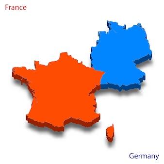 Mapa 3d relações frança e alemanha