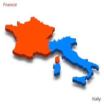 Mapa 3d relações frança e itália