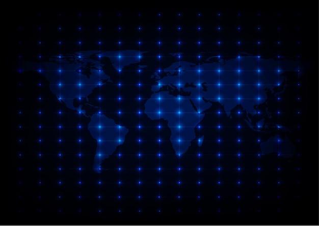 Mapa abstrato do mundo fundo das luzes azuis