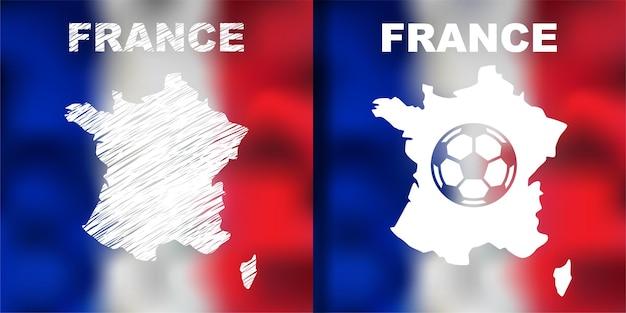 Mapa abstrato francês com bandeira e bola