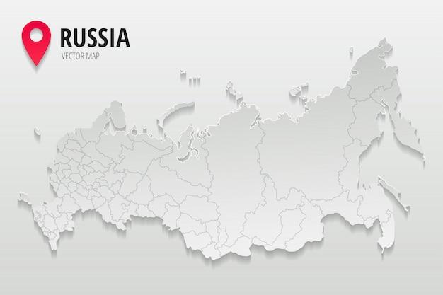 Mapa administrativo da rússia com fronteiras do estilo de papel na moda de regiões isolado em fundo gradiente. ilustração