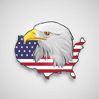 Mapa americano com águia