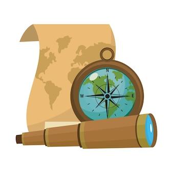 Mapa antigo com bússola e ferramentas monoculares
