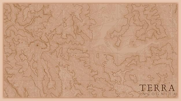 Mapa antigo do relevo da terra abstrata antiga. Vetor Premium