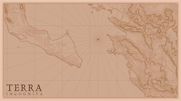 Mapa antigo em relevo abstrato da terra