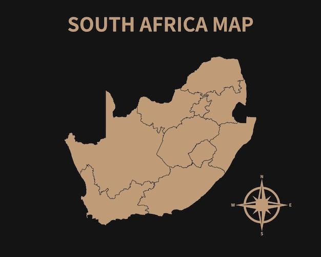 Mapa antigo vintage detalhado da áfrica do sul com bússola e borda da região isolada em fundo escuro