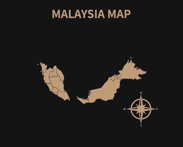 Mapa antigo vintage detalhado da malásia com bússola e borda da região isolada em fundo escuro