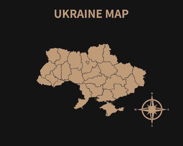 Mapa antigo vintage detalhado da ucrânia com bússola e borda da região isolada em fundo escuro