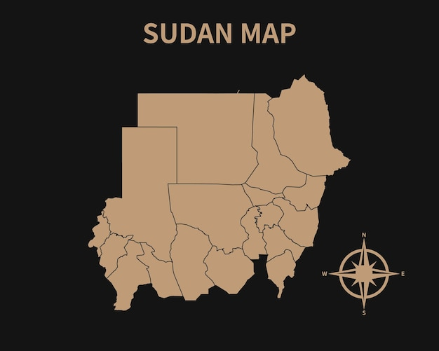Mapa antigo vintage detalhado do sudão com bússola e borda da região isolada em fundo escuro