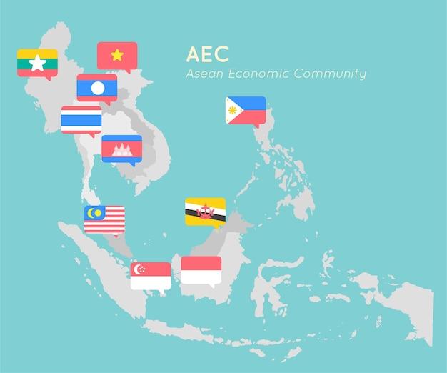 Mapa asean com design plano de bandeira de ponto