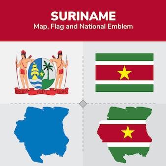 Mapa, bandeira e emblema nacional do suriname