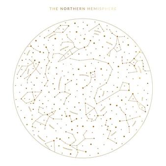 Mapa celeste do hemisfério norte em vetor com constelações