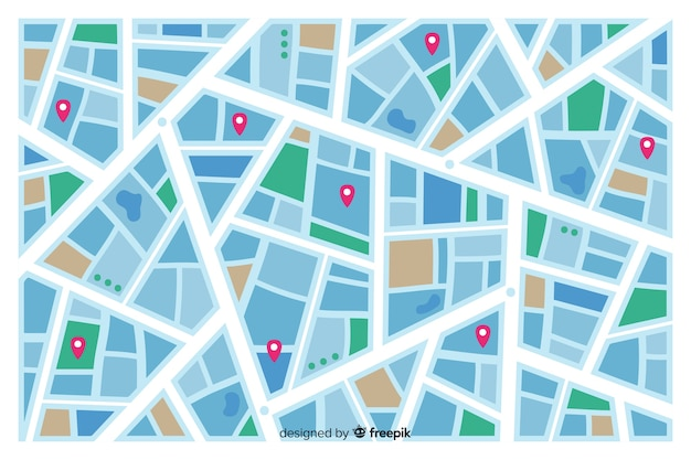 Mapa colorido da cidade indicando rotas de ruas