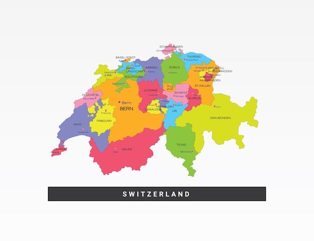 Mapa colorido da suíça