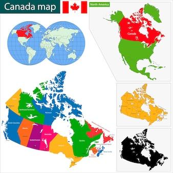 Mapa colorido de canadá