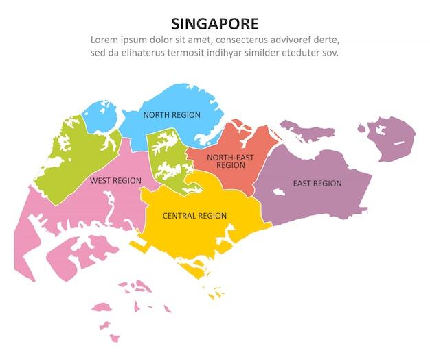Mapa colorido de singapura com regiões.