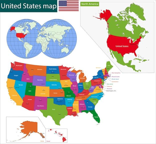 Mapa colorido dos eua