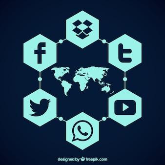 Mapa com ícones sociais dos media hexagonais