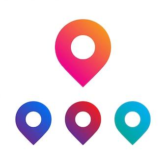 Mapa conjunto de ícones de pinos de localização.