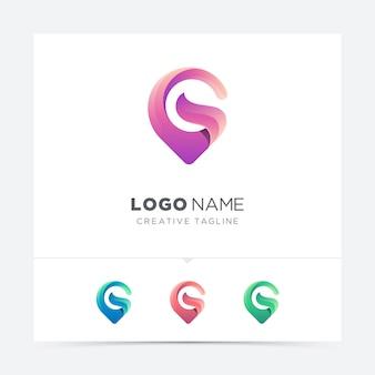 Mapa criativo abstrato pin letra g logotipo variação