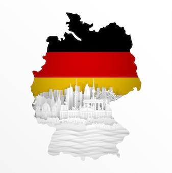 Mapa da alemanha com monumentos famosos do mundo em ilustração vetorial de estilo de corte de papel