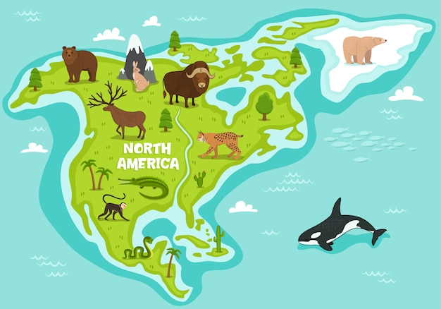 Mapa da américa do norte com animais selvagens