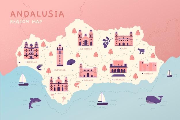 Mapa da andaluzia com pontos de referência